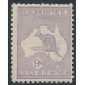 AUSTRALIA - 1916 9d pale violet Kangaroo, die II, 3rd watermark, MH – ACSC # 26B