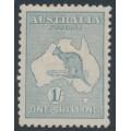 AUSTRALIA - 1916 1/- blue-green Kangaroo, die II, 3rd watermark, MH – ACSC # 32A