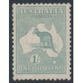 AUSTRALIA - 1920 1/- blue-green Kangaroo, die IIB, 3rd watermark, MH – ACSC # 33A