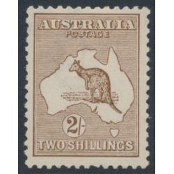 AUSTRALIA - 1916 2/- brown Kangaroo, 3rd watermark, MH – ACSC # 37A