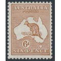 AUSTRALIA - 1929 6d chestnut Kangaroo, SM watermark, MH – ACSC # 22A