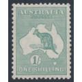 AUSTRALIA - 1929 1/- blue-green Kangaroo, SM watermark, MH – ACSC # 34A