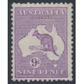 AUSTRALIA - 1932 9d violet Kangaroo, CofA watermark, MH – ACSC # 29A