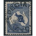 AUSTRALIA - 1917 2½d intense indigo Kangaroo, 3rd watermark, used – ACSC # 11D