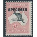 AUSTRALIA - 1934 £2 black/red Kangaroo, o/p SPECIMEN, 'break in Bight', MH – ACSC # 58B(D)r+x