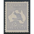 AUSTRALIA - 1915 6d pale greyish violet Kangaroo, die II, 3rd watermark, MH – ACSC # 19G