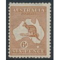 AUSTRALIA - 1923 6d chestnut Kangaroo, 3rd watermark, 'broken leg on 'Roo', MNH – ACSC # 21A(3)d