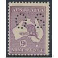 AUSTRALIA - 1916 9d violet Kangaroo, die II, 3rd watermark, perf. OS, MH – ACSC # 26Aba