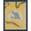AUSTRALIA - 1918 5/- grey/chrome Kangaroo, 3rd watermark, 'short Spencer's Gulf', used – ACSC # 44A(D)j
