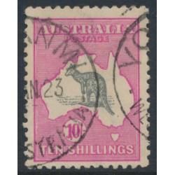 AUSTRALIA - 1917 10/- grey/pink Kangaroo, 3rd wmk, 'broken tail on Kangaroo', used – ACSC # 48B(V)e