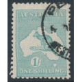 AUSTRALIA - 1929 1/- blue-green Kangaroo, SM watermark, 'slurred left frame', used – ACSC # 34A