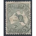 AUSTRALIA - 1915 2d grey Kangaroo, die I, inverted 3rd watermark, used – ACSC # 7Ba