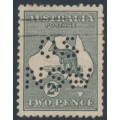 AUSTRALIA - 1915 2d slate Kangaroo, die I, 3rd watermark, perf. OS NSW, used – ACSC # 7Cba