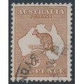 AUSTRALIA - 1923 6d deep chestnut Kangaroo, 3rd watermark, used – ACSC # 21C