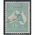 AUSTRALIA - 1916 1/- blue-green Kangaroo, die II, 3rd watermark, used – ACSC # 32A