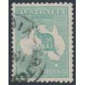 AUSTRALIA - 1920 1/- blue-green Kangaroo, die IIB, 3rd watermark, used – ACSC # 33A