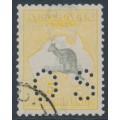 AUSTRALIA - 1918 5/- grey/pale yellow, 3rd watermark, perforated OS, CTO – ACSC # 44Dwa
