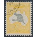 AUSTRALIA - 1929 5/- grey/yellow-orange Kangaroo, SM watermark, CTO – ACSC # 45Aw