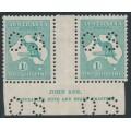 AUSTRALIA - 1929 1/- deep blue-green Kangaroo, SM watermark, Ash imprint pair, MH – ACSC # 34B(4)za+b