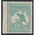 AUSTRALIA - 1929 1/- emerald Kangaroo, SM watermark, MNH – ACSC # 34C