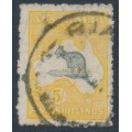 AUSTRALIA - 1915 5/- grey/yellow Kangaroo, inverted 2nd wmk + double printed frame, used – ACSC # 43Bc+a