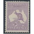 AUSTRALIA - 1919 9d pale violet Kangaroo, die IIB, 3rd watermark, used – ACSC # 27B