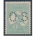 AUSTRALIA - 1920 1/- blue-green Kangaroo, die IIB, 3rd watermark, perf. OS, MH – ACSC # 33Aba