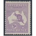 AUSTRALIA - 1929 9d violet Kangaroo, SM watermark, MH – ACSC # 28A