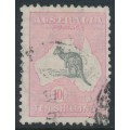 AUSTRALIA - 1929 10/- grey/pale pink Kangaroo, SM watermark, used – ACSC # 49