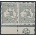 AUSTRALIA - 1915 2d grey Kangaroo, 3rd watermark, JBC monogram pair, MH – ACSC # 7B(2)zb
