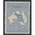 AUSTRALIA - 1915 6d blue Kangaroo, die II, 3rd watermark, MH – ACSC # 19B