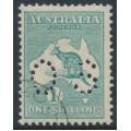 AUSTRALIA - 1920 1/- blue-green Kangaroo, die IIB, 3rd watermark, perf. OS, CTO – ACSC # 33Awa