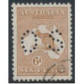 AUSTRALIA - 1929 6d chestnut Kangaroo, SM watermark, perf. OS, CTO – ACSC # 22Ab