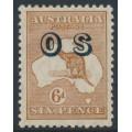 AUSTRALIA - 1932 6d chestnut Kangaroo, SM watermark, o/p OS, MH – ACSC # 22A(OS)