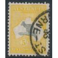 AUSTRALIA - 1929 5/- grey/deep yellow-orange Kangaroo, SM watermark, used – ACSC # 45A