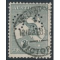 AUSTRALIA - 1915 2d grey Kangaroo, 2nd watermark, perf. OS, used – ACSC # 6Aba