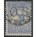 AUSTRALIA - 1915 6d ultramarine Kangaroo, 2nd watermark, perf. OS, used – ACSC # 18Aba