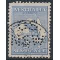 AUSTRALIA - 1915 6d ultramarine Kangaroo, 2nd watermark, perf. OS NSW, used – ACSC # 18Aba