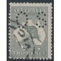 AUSTRALIA - 1918 2d silver-grey Kangaroo, die IIA, 3rd watermark, perf. OS, used – ACSC # 8Ab