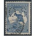 AUSTRALIA - 1917 2½d blue Kangaroo, 3rd watermark, perf. OS, used – ACSC # 11Ab