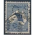 AUSTRALIA - 1917 2½d deep blue Kangaroo, 3rd watermark, perf. OS, used – ACSC # 11Bb