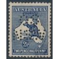 AUSTRALIA - 1917 2½d deep blue Kangaroo, 3rd watermark, perf. OS NSW, used – ACSC # 11Bb