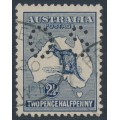 AUSTRALIA - 1917 2½d indigo Kangaroo, 3rd watermark, perf. OS, used – ACSC # 11Cb