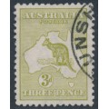 AUSTRALIA - 1915 3d olive Kangaroo, die I, 3rd watermark, used – ACSC # 13E