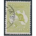 AUSTRALIA - 1915 3d olive-green Kangaroo, die I, 3rd watermark, used – ACSC # 13K