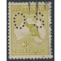 AUSTRALIA - 1915 3d yellow-olive Kangaroo, die I, 3rd watermark, perf. OS, used – ACSC # 13Ab