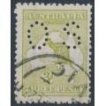 AUSTRALIA - 1915 3d olive-green Kangaroo, die I, 3rd watermark, perf. OS, used – ACSC # 13Kb