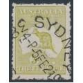 AUSTRALIA - 1923 3d olive Kangaroo, die IIB, 3rd watermark, used – ACSC # 14A