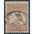 AUSTRALIA - 1923 6d chestnut Kangaroo, 3rd watermark, used – ACSC # 21A