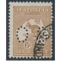 AUSTRALIA - 1923 6d chestnut Kangaroo, 3rd watermark, perf. OS, used – ACSC # 21Aba